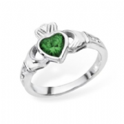 Sterling silver rubover set emerald cubic zirconia claddagh ring